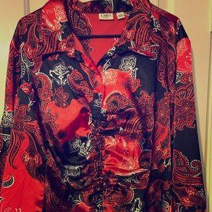 4/$20 CATO Size 26/28W Shiny Holiday Kimono Style